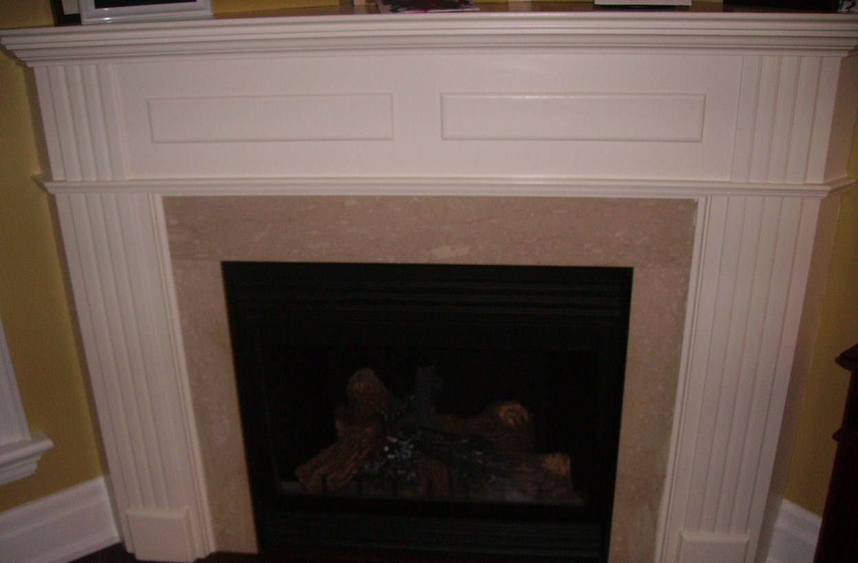 Mantel gas log fireplace fireplaces for Fireplace and mantel